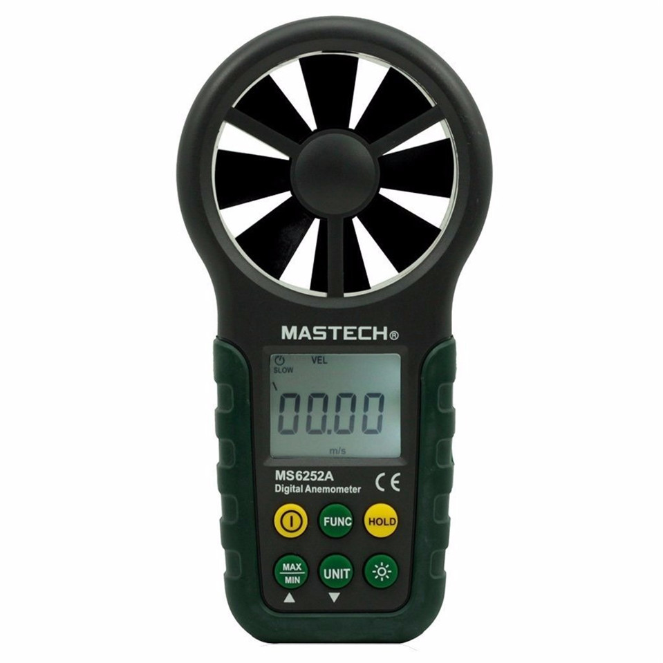 MASTECH MS6252A High quality Digital Anemometer Wind Speed Air Volume Measuring Meter Bring LCD Free Shipping digital indoor air quality carbon dioxide meter temperature rh humidity twa stel display 99 points made in taiwan co2 monitor