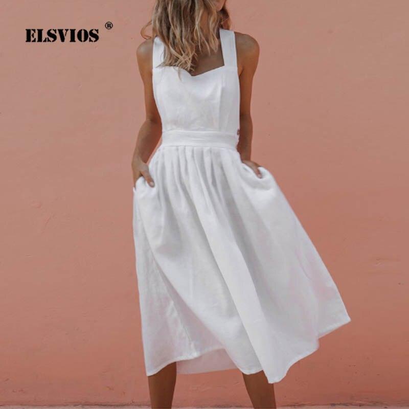 ELSVIOS High Waist Bare Back Bow Midi Dress Women Sexy Criss Cross Off Shoulder Sundress Elegant Pleated A Line Summer Dresses
