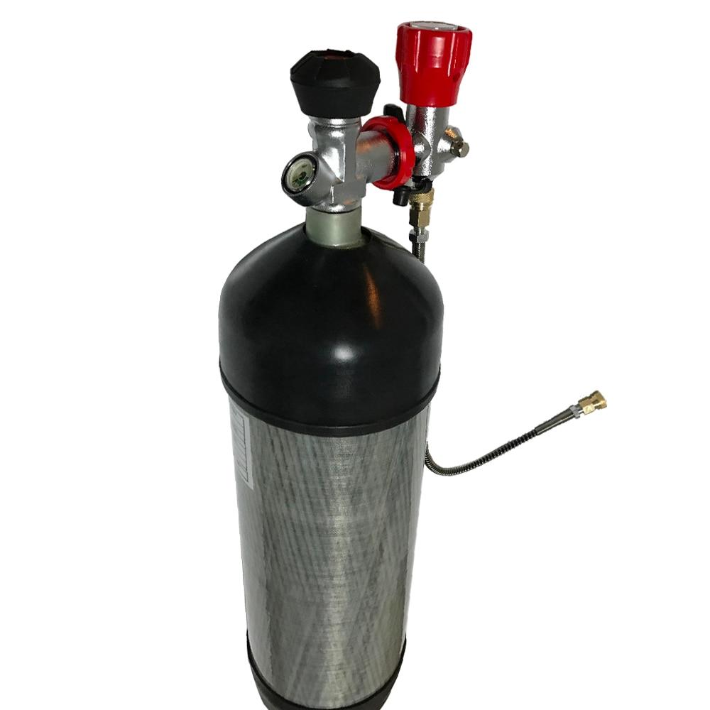 HPA tanque de aire comprimido 4500PSI cilindro de Gas de fibra de carbono compuesto CE 9.0L con válvula y estación de llenado añadir Protector de goma