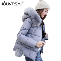 New Winter Jacket Women Short Cotton Jackets 2017 Girls Slim Large Fur Hooded Warm Parkas Coat