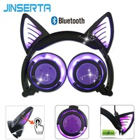 JINSERTA Bluetooth Earphone Cat Ear Wireless Headphones microphone Flashing Glowing Headset w/LED Light For PC Laptop Adult Kids