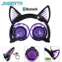 JINSERTA سماعة بلوتوث القط الأذن سماعات لاسلكية ميكروفون وامض متوهجة سماعة ث/مصباح ليد لأجهزة الكمبيوتر المحمول الكبار الاطفال