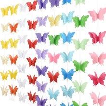 18 adet 3D kelebek dizeleri pamuk ipi Garland noel zinciri düğün parti asılı dekorasyon çocuk çocuk odası romantik dekor