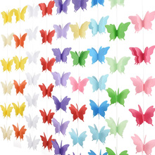 18pcs 3D butterfly strings Cotton Rope Garland Christmas Chain Wedding Party Hanging Decoration Kids Children Room Romance Decor