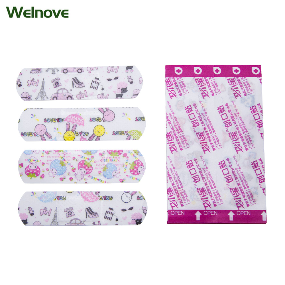 50Pcs First Aid Waterproof Bandage Hemostatic Medical Disposable Band-Aid With A Serile Stickers Gauze Pad Wound Plaster C1204