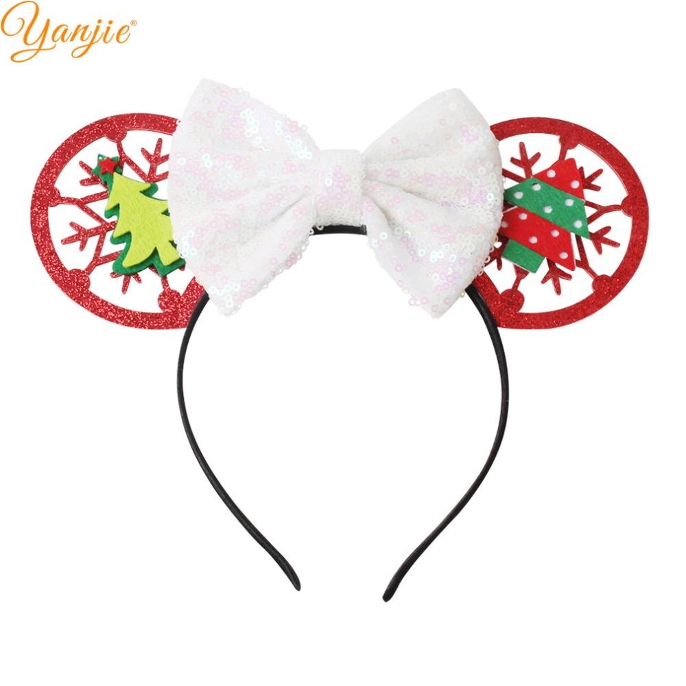Green Christmas Ribbon Present Bow Headband Hairband Womens Girls Party Festive
