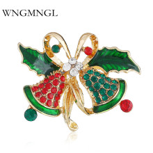 WNGMNGL Fashion Christmas Bell Brooches Elegant Statement Luxurious Crystal For Women 2018 Female Brooch Jewelry Gift