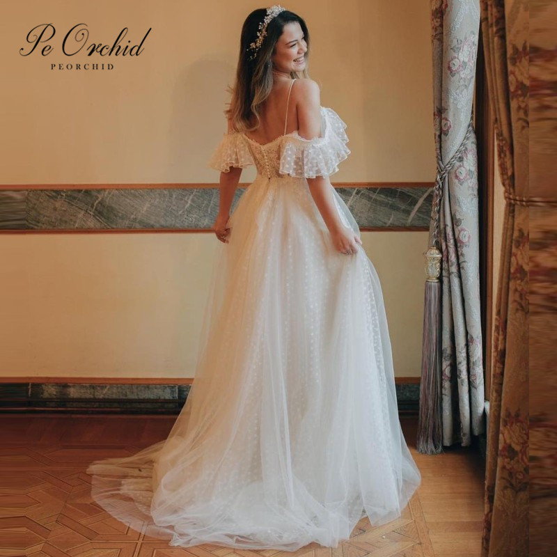 Vestido De Noiva Renda Vintage Lace Princess Wedding Dress: PEORCHID 2019 Bohemian Wedding Dress Lace Off The Shoulder