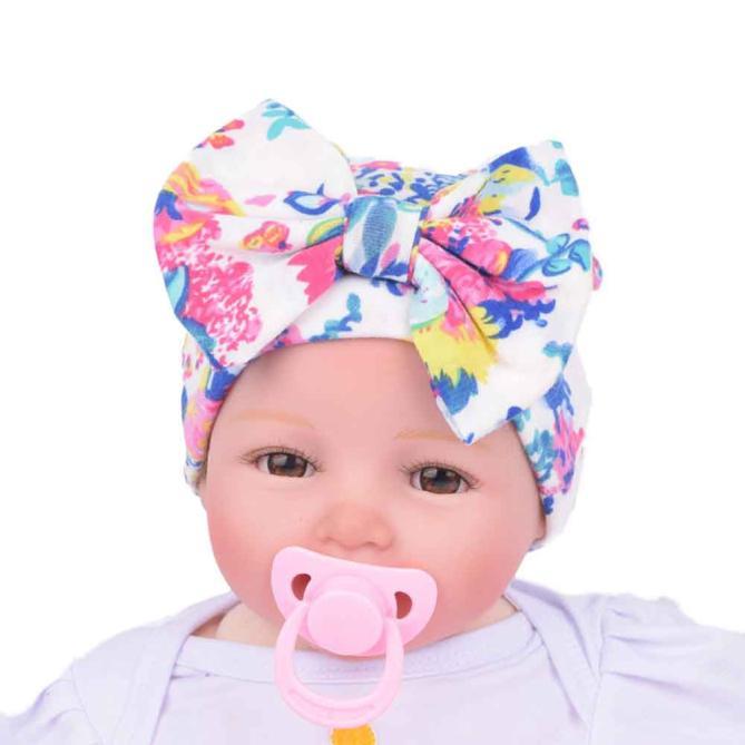 c0ee8d3c4d4 Newborn Baby Hat Beanie Flower Bowknot Cap Infant Girls Hospital Cap ...