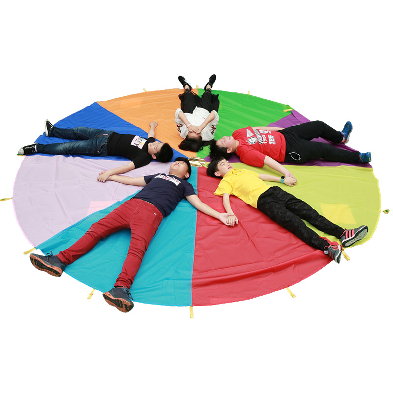 Dia 1M/2M/3M/3.6M/4M/5M Rainbow Umbrella Parachute Toy Kids Sport Outdoor Games Jump Ballute Play Teamwork Game Toy