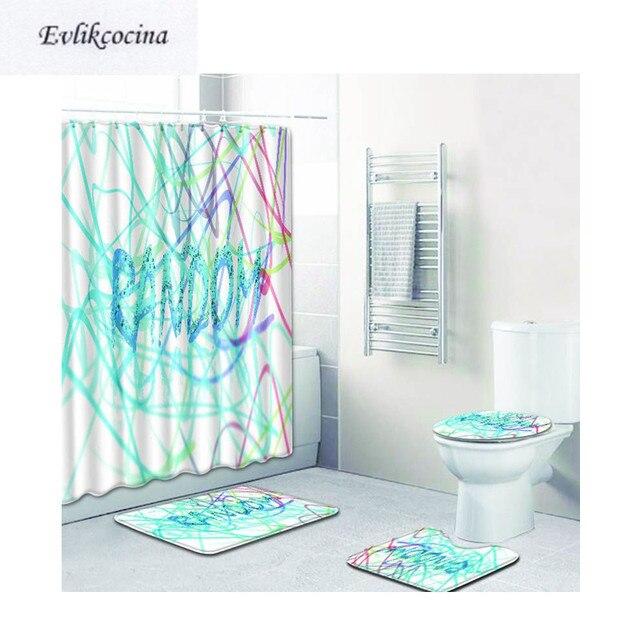 Merveilleux Free Shipping 4pcs Colored Lines Banyo Paspas Bathroom Carpet Toilet Bath  Mat Set Non Slip Tapis Salle De Bain Alfombra Bano