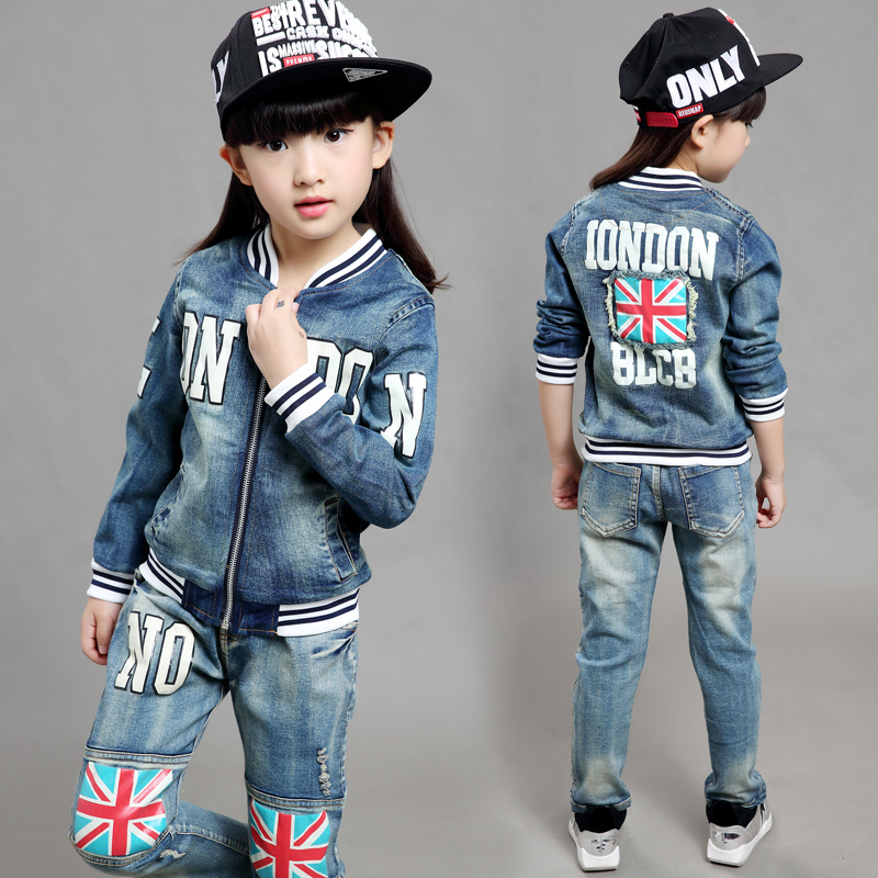 0f84ca9f4bfc9 Fashion Clothing Kids Cowboy Suit Children Boys Girls Sports Denim ...