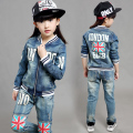 Fashion Clothing Kids Cowboy Suit Children Boys Girls Sports Denim Baseball Clothes Unisex Letter Denim Jacket + Pants