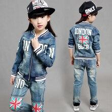 Mode Vêtements Enfants Costume de Cow-Boy Enfants Garçons Filles Sport Denim Baseball Vêtements Unisexe Lettre Denim Veste + Pantalon