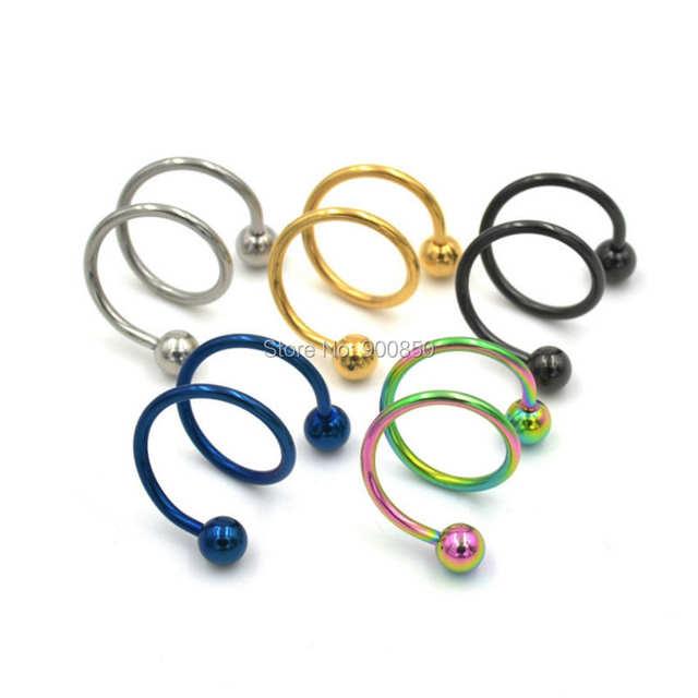 Online Shop 10 Pcs Gauge 18g Ball Surgical Steel Double Spiral