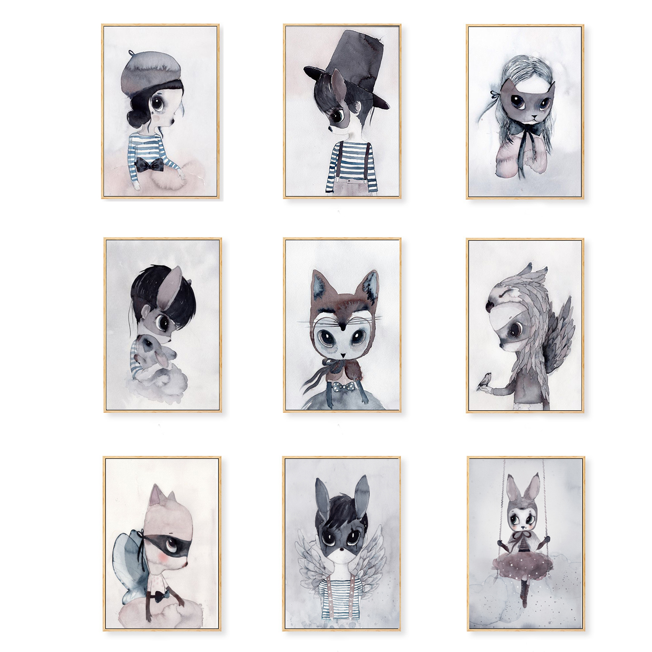 Poster Print Nordic Style Kids Decoration Wall Art Canvas Painting Cute Cartoon Nursery Rabbit Wall Pictures Girl's Room Decor