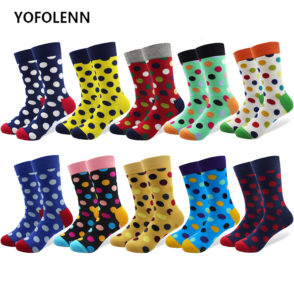 10 Pairs/lot Funny Mens Colorful Big Dot Socks with High Quality Women Combed Cotton Long Cool Crew Happy Wedding Party Socks