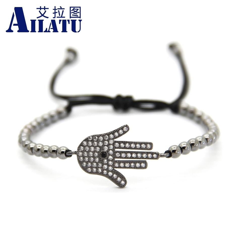 Ailatu 4mm Round Bronze Beads Micro Pave Cubic Zirconia Hand Style Braiding Macrame Bracelet