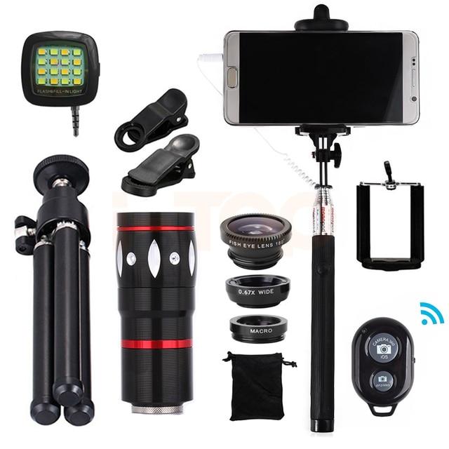 2017 10x de Zoom Teleobjetivo Lentes de ojo de Pez Gran Angular Macro selfie stick microscopio lentes de la lente del teléfono celular móvil trípode Clips