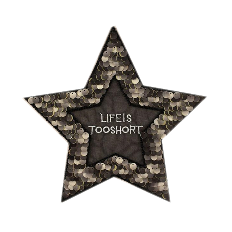 Fashion T shirt Women sequins patches for clothing 23cm star letters patch deal with it 3d t shirt mens Christmas gift stickers
