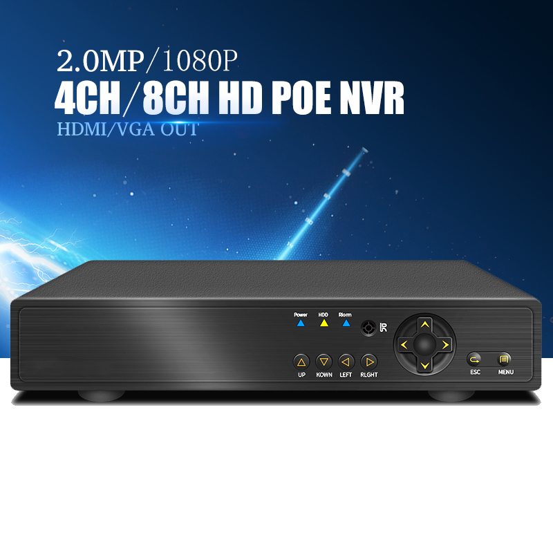 YiiSPO 4CHPOE NVR 1080P CCTV 48V IEEE802 3af Security 8CH POE NVR POE Switch Inside Network
