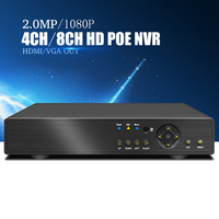 YiiSPO 4CHPOE NVR 1080P CCTV 48V IEEE802 3af Security 8CH POE NVR POE Switch Inside Network