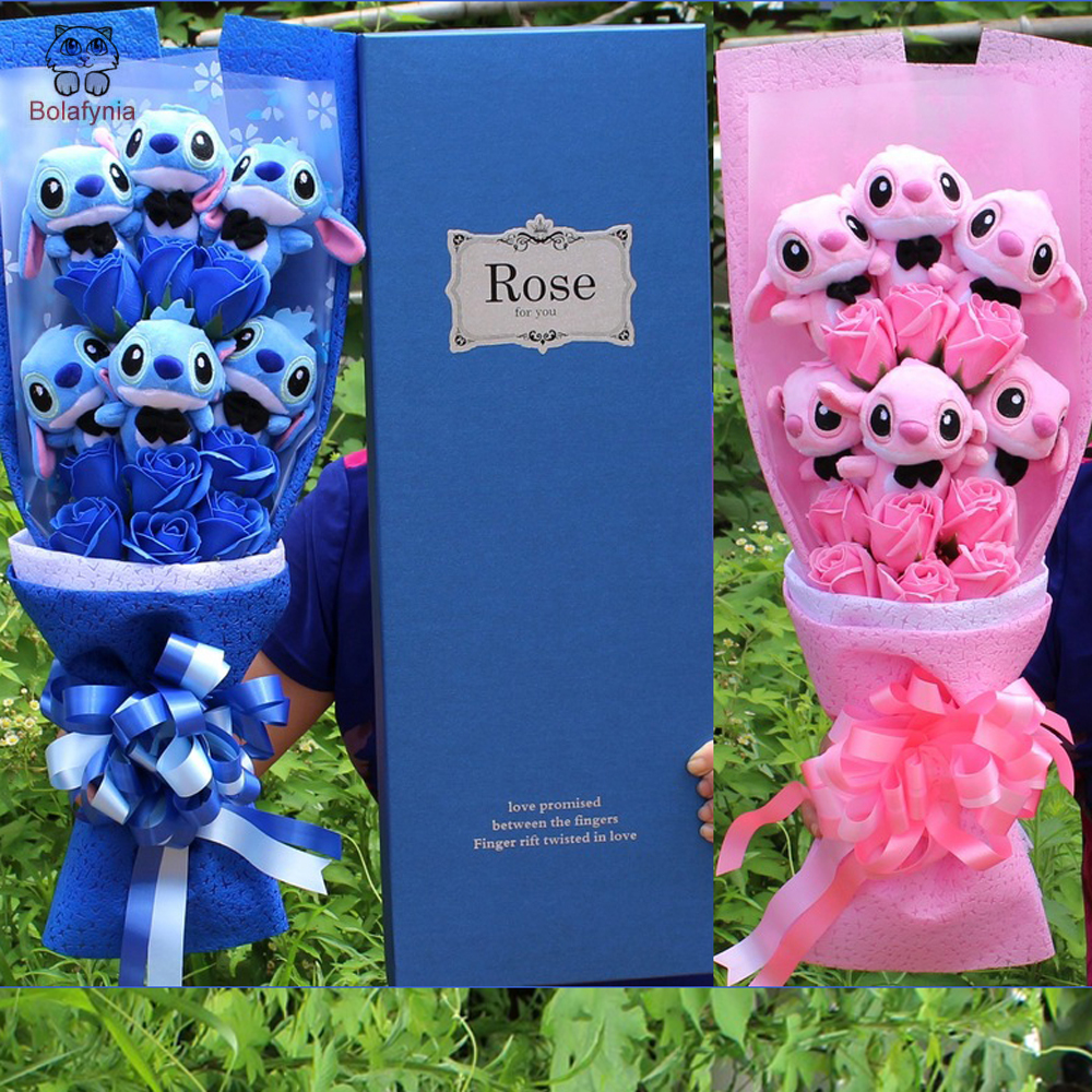 BOLAFYNIA Artificial Lovely Cartoon Plush Toys Stitch Festivals Gift Bouquet with Fake Flowers For Valentine's Day Wedding Party stitch bouquet plush stuffed carton animals toys artificial kawaii cartoon fake flowers best birthday christmas day gifts
