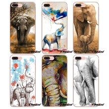Para iPhone 4X4 4S 5 5S 5C SE 6 6 S 7 8 Plus, Samsung Galaxy J1 J3 J5 j7 A3 A5 2016 2017 colorido elefante animales salvajes tribal caso(China)