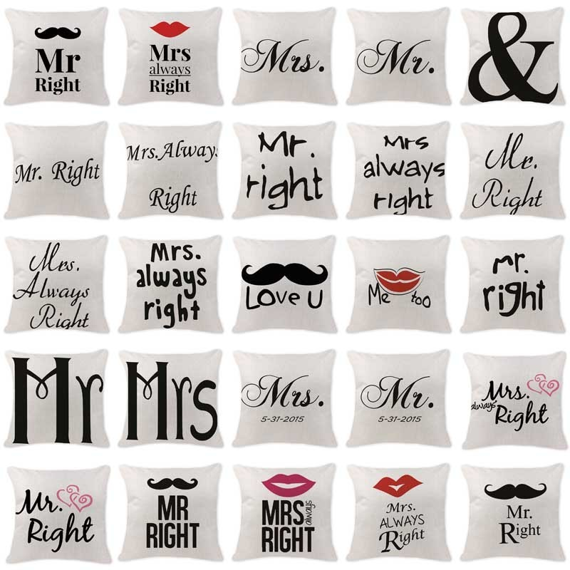 High Quality Cushion Cover Scandinavian Mr Mrs Letter Pillowcases Car Seat Chair custom Linen Home Decor