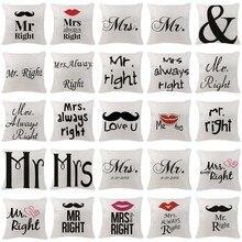 High Quality Cushion Cover Scandinavian Mr Mrs Letter Pillowcases Car Seat Chair custom Linen Home Decor