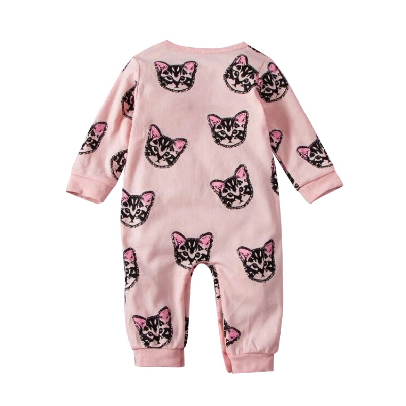 Summer Spring O-neck Casual Baby Rompers Cat Print Baby Girl Lovely Pink Fashion baby rompers o neck 100