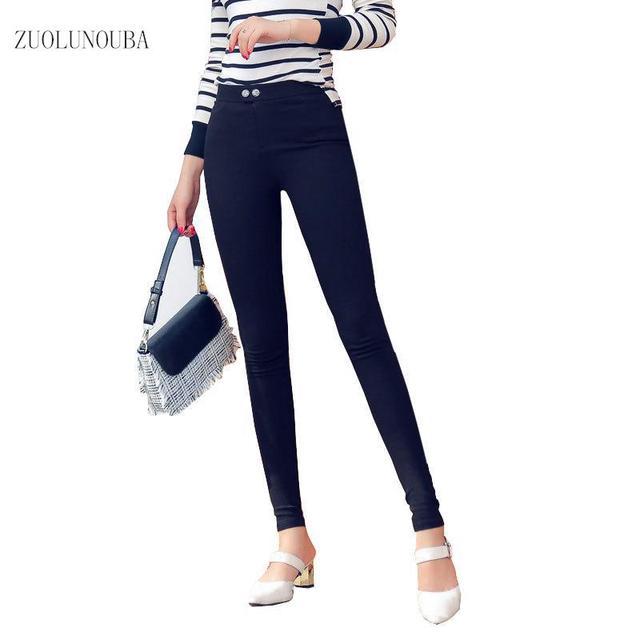 Zuolunouba Autumn Korean Style Leggings Female Black Was Thin Outside Wearing Women Warm Low Waist Feet Pencil Pants Leggings