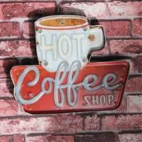 Coffee Vintage Funny Metal Tin Sign Retro Cafe Bar Home Decor Metal Plaque LED Light Box Bar Pub Poster Wall Hanging Lamp