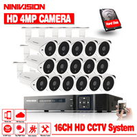 NINIVISION 4MP видеонаблюдения Системы 16CH комплект видеонаблюдения 16 шт. 4.0MP безопасности Камера супер Ночное видение 3MP 4MP 5MP NVR