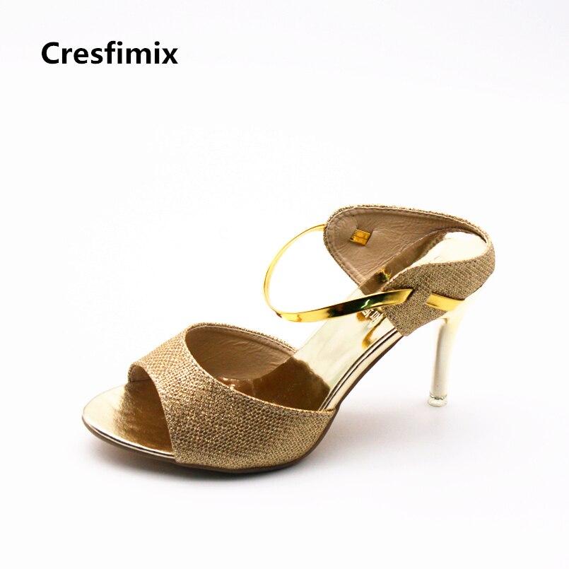 Cresfimix women cute pu leather spring & summer high heel sandals lady cute pointed toe high heel shoes female cool street shoes cresfimix women spring