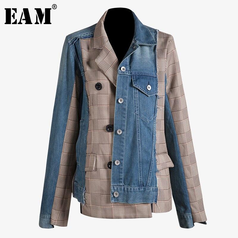 [EAM] 2020 New Spring Autumn Lapel Long Sleeve Blue Denim Plaid Split Joint Irregular Loose Jacket Women Coat Fashion Tide JT888