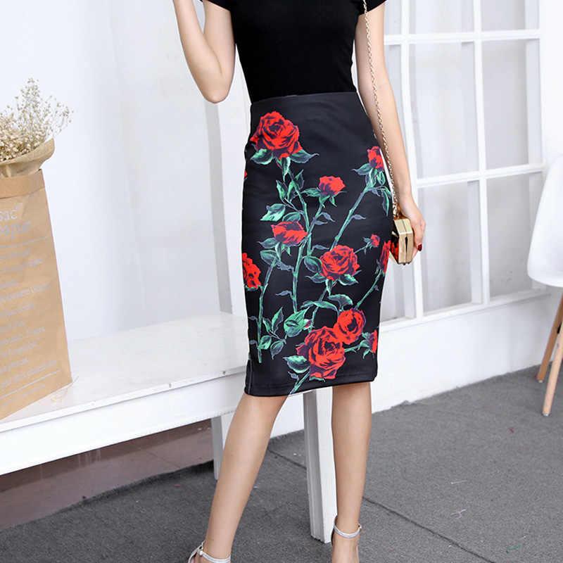 d4924a741 Faldas de verano para mujer 2019 moda Floral impreso cremallera de la  longitud de la rodilla de alta cintura falda Jupe Vintage mujer Saias