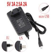 цена на Micro USB Power Adaptor 5V 3A 2A 2.5A 5 v volt 100-240V Adapter Supply Charger for Raspberry PI 3 Zero Model B B+ Tablet PC 5V3A