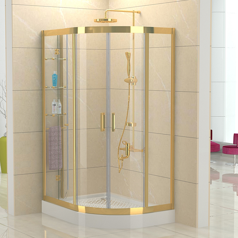 2015 SUS304 stainless steel Sector gold shower cabin with double ...