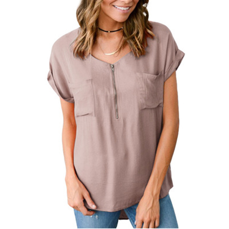 Women Short Sleeve V neck Shirt Casual Loose Pocket Tops Summer Plus Size Blouse Shirts Tops in Blouses amp Shirts from Women 39 s Clothing