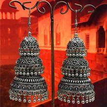 Boucles doreilles trois couches pour femmes, bijoux indiens, marocains, afghans, bohème, thaïlande, Miao, tribus argentées, pompon, grand cadeau