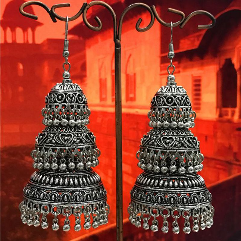Limited India Jewelry Original Three Heavy Earrings Tribes Making Exaggerated Earrings Thailand Miao Silver Morocco цена