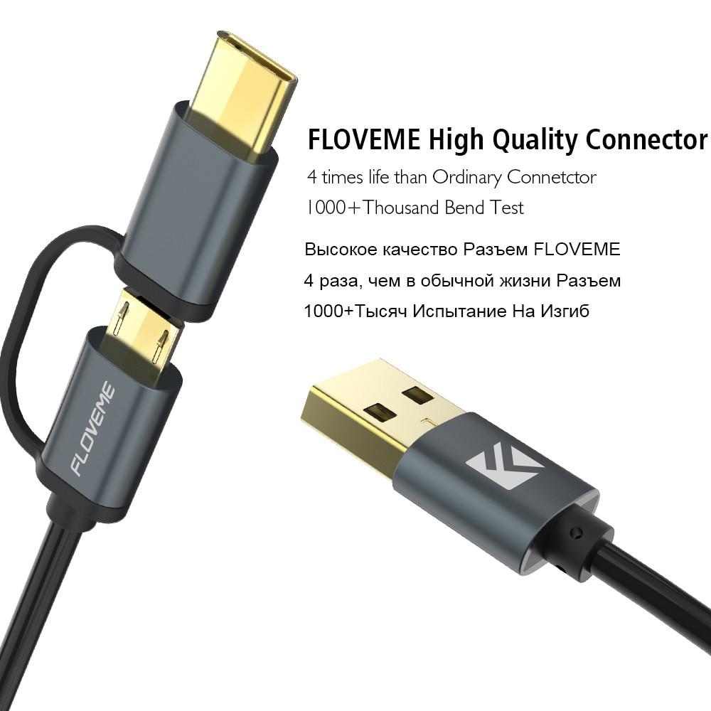 FLOVEME 2 i 1 Micro USB-kabel typ C QC 3.0 USB-C-kabel Snabbladdare - Reservdelar och tillbehör för mobiltelefoner - Foto 3