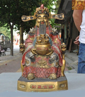 wedding decoration China temple bronze Gilt silver coin Yuanbao wealth God Jambhala Mammon statue New Year