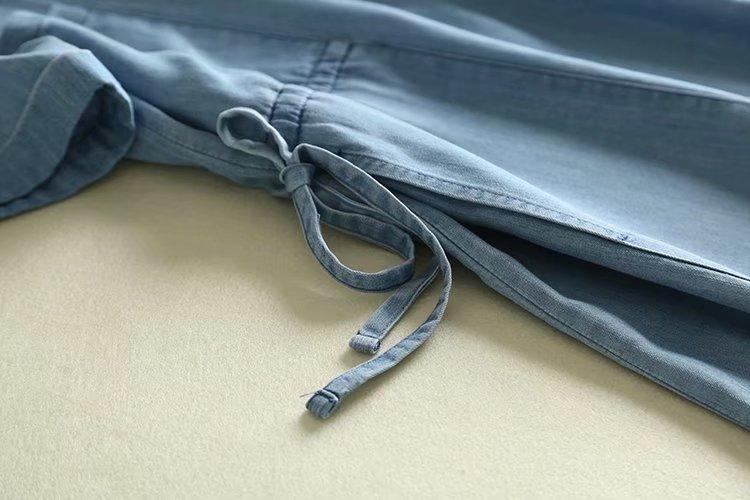 Vintage Blue V Neck Short Sleeve Drawstring Waist Denim Dress
