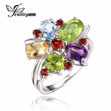 JewelryPalace Flower Multicolor three.1ct Pure Amethyst Garnet Peridot Citrine Blue Topaz Cocktail Ring Pure 925 Sterling Silver