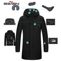 Seven7 패션 긴 여행 재킷 남성 스마트 다운 재킷 내부 파카 태블릿 포켓 밴드 베개 아이 마스크 내장 장갑 113K20440