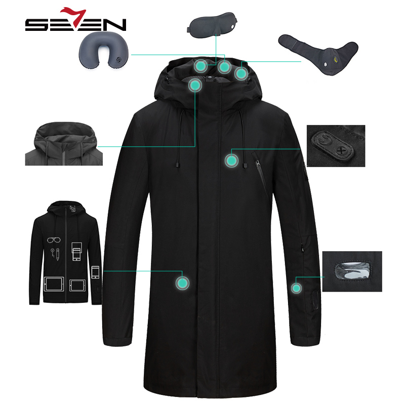 Seven7 Fashion Long Travel Jacket Men Smart Down Jacket Inner Parka Tablet Pockets Band Pillow Eye Mask Built in Glove 113K20440