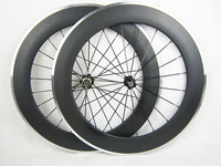 23mm width Alloy braking surface clincher carbon wheels aluminium 80mm bicycle wheelset free painting
