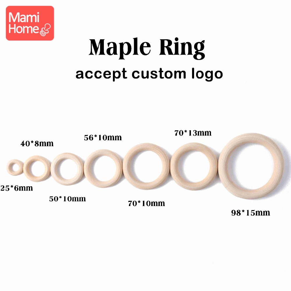 Mamihome 25mm-70mm 50PC Wood Ring Food Grade Teether DIY Pacifier Chain Accessories Chew Toy Nurse Gift Wooden Ring Baby Teether